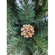 Новогодняя елка  зеленая с белыми кончиками и шишками 2 м